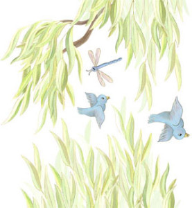 MINI Willow Tree Border Decals - Branches Pointing LEFT