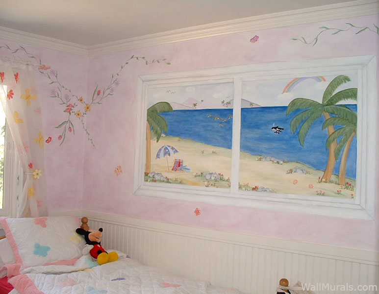 Girls Room Mural - Painted Beach Scene in Window