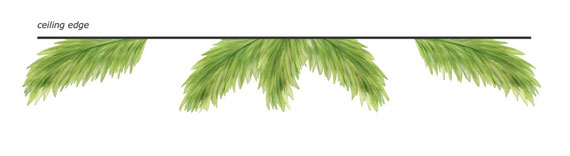 Palm Frond Wall Decals - Installed