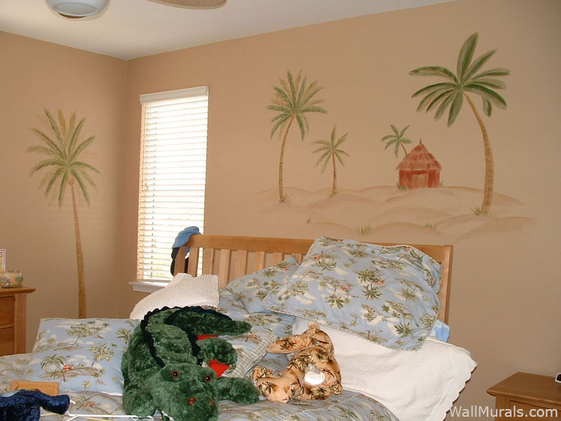 Palm Tree Mural in Teen Girls Room