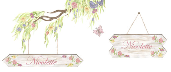 Personalized Flower Sign - Layout Sheet (shows flowering tree, rope and 2 different sized signs) these are all different decals.