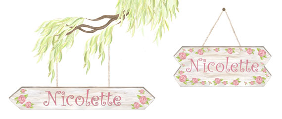 Personalized Rose Sign - Layout Sheet (shows willow tree, rope and 2 different sized signs) these are all different decals.