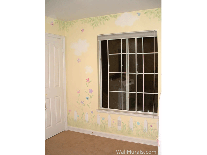 Picket Fence Wall Mural for Little Girl