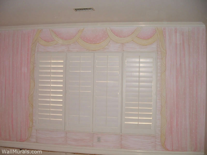 Pink Curtain Mural for Girls Room