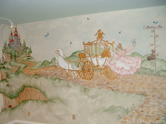 Princess with Carriage - Castle Wall Mural for Girl