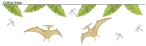 Pterodactyl Dinosaur Wall Decals - Layout Sheet