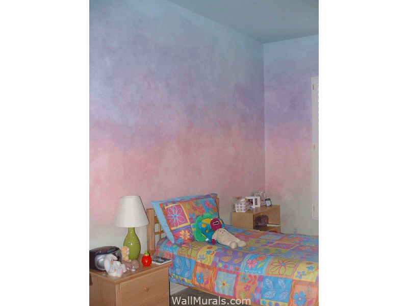Girls Bedroom - Rainbow Faux Walls