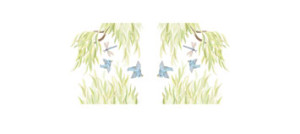 PACKAGE - (2 MINI Willow Tree Border Decals - Branches Pointing RIGHT and Branches Pointing LEFT)