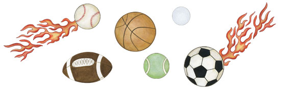 Sports Ball & Flames - Wall Decals - Layout Sheet