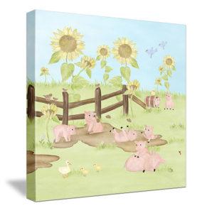Playful Piggies - (sunflower background) Canvas Wall Art