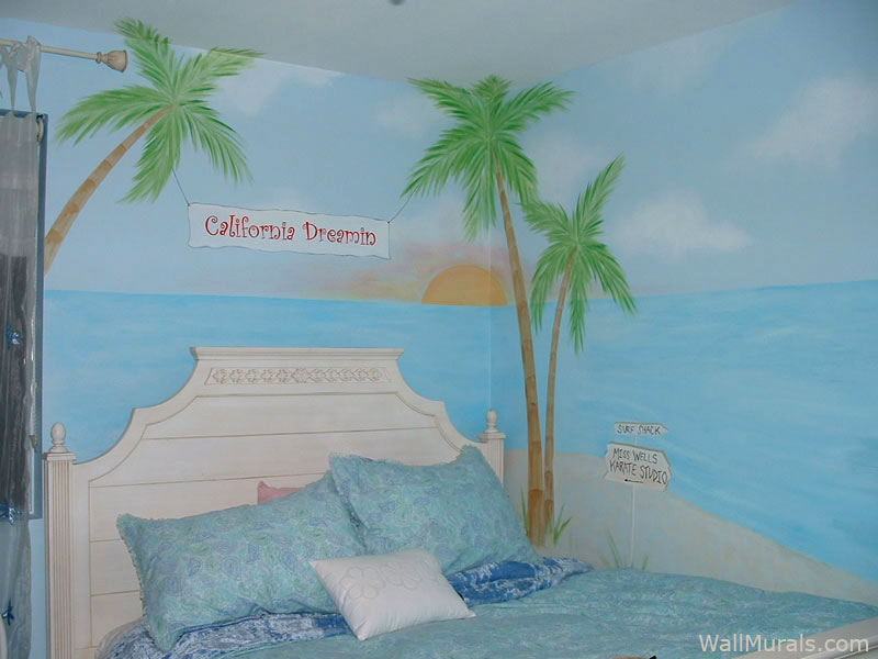 Girls Room Beach Mural - Sunset
