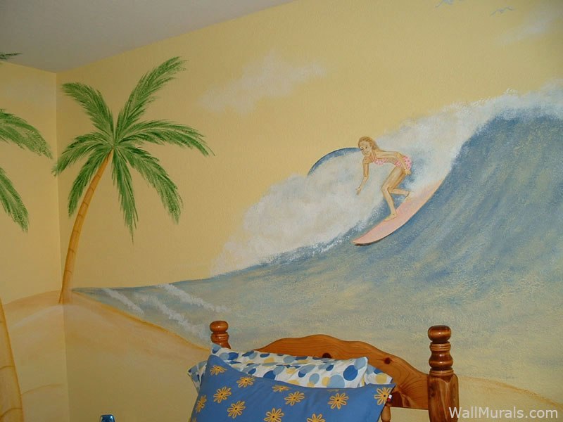 Girl Surfing Wall Mural