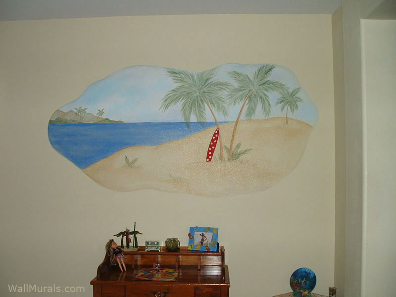 Surf Scene Wall Mural. Painted Boutique Window Part 77