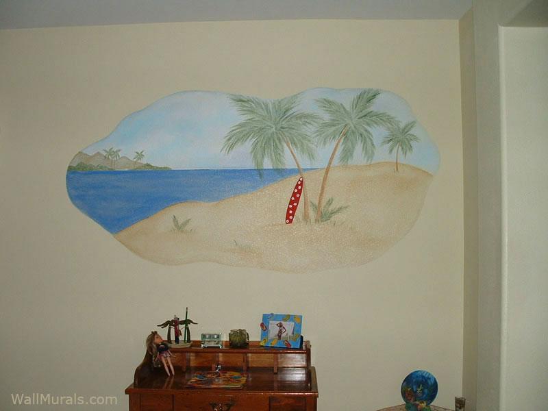 Surf Scene Wall Mural - Girls Room