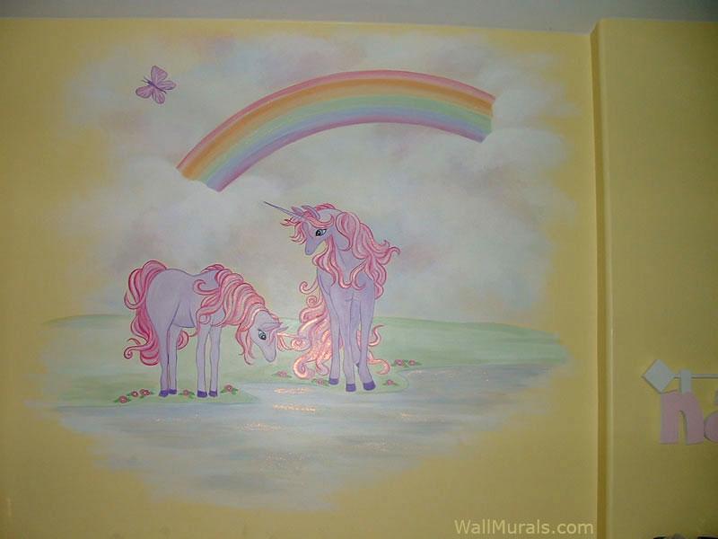 Girls Room Mural - Unicorn - Rainbow
