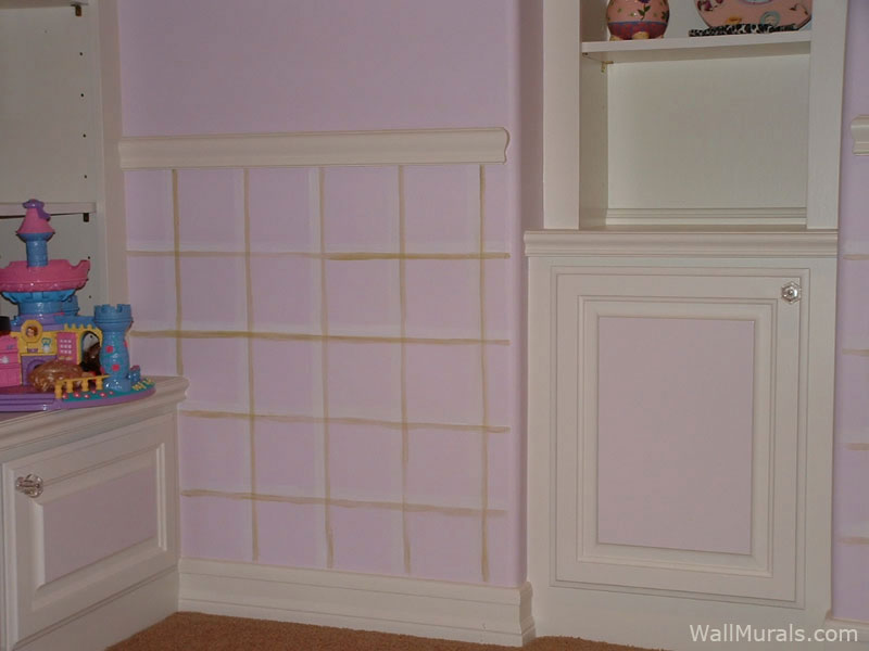 Hand-painted Plaid Wallpaper in Girls Bedroom