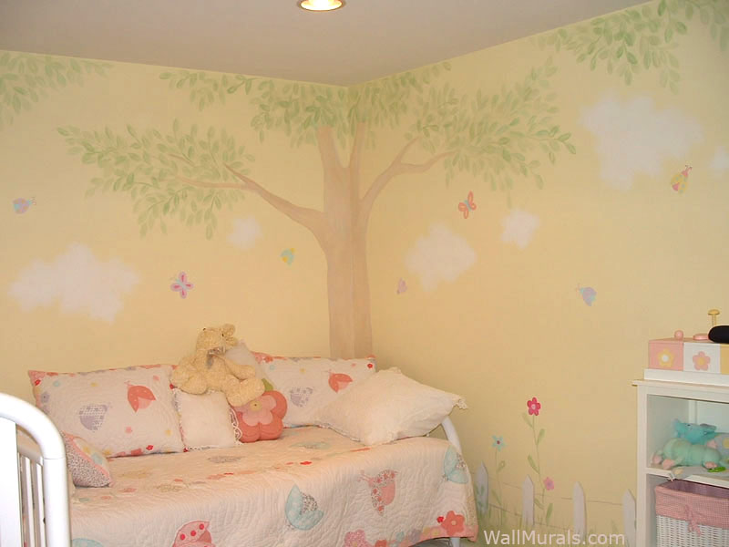 Picket Fence and Tree Mural - Girls Room