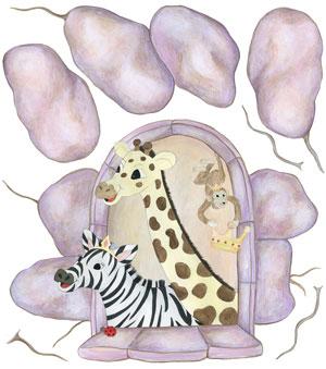 Zebra, Giraffe & Monkey in Castle Window - Wall Decal Sheet