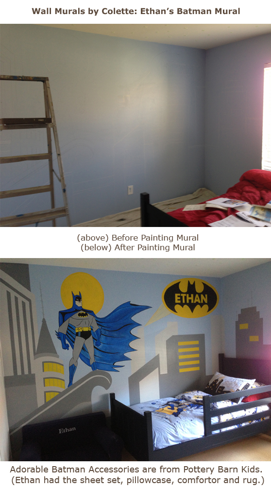 Batman wall mural with painted cityscapewall murals by colette for Batman bedroom wall mural