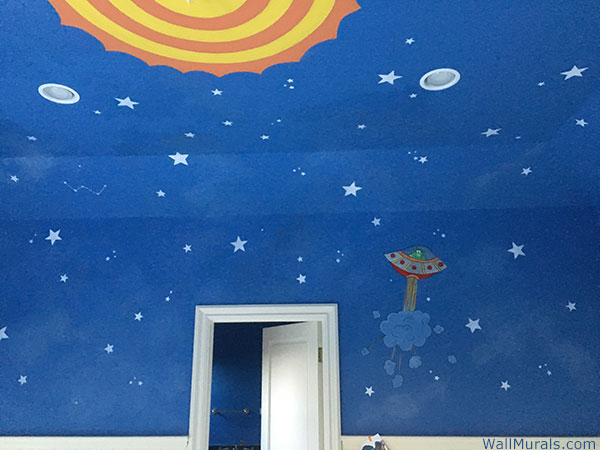 Space Wall Mural with Sun on Ceiling