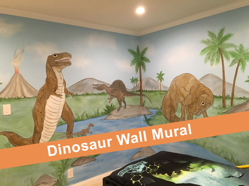 Dinosaur Mural In Boys Bedroom Video Wall Murals By