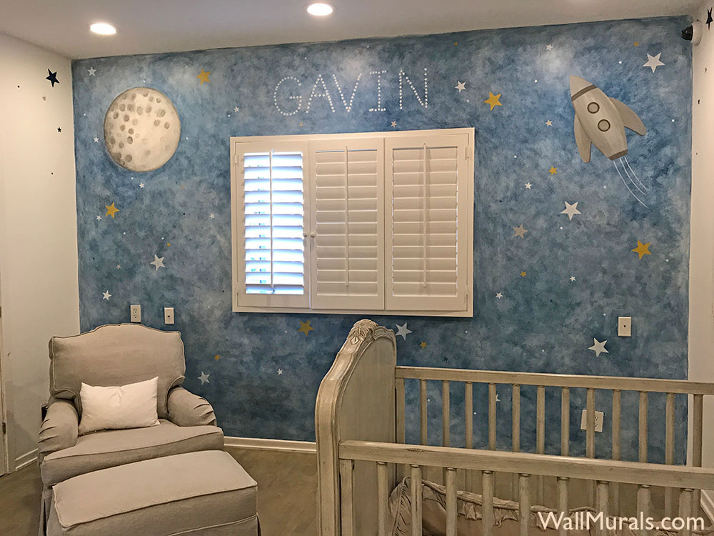 Space Wall Murals Hand Painted Space Wall Art Wall