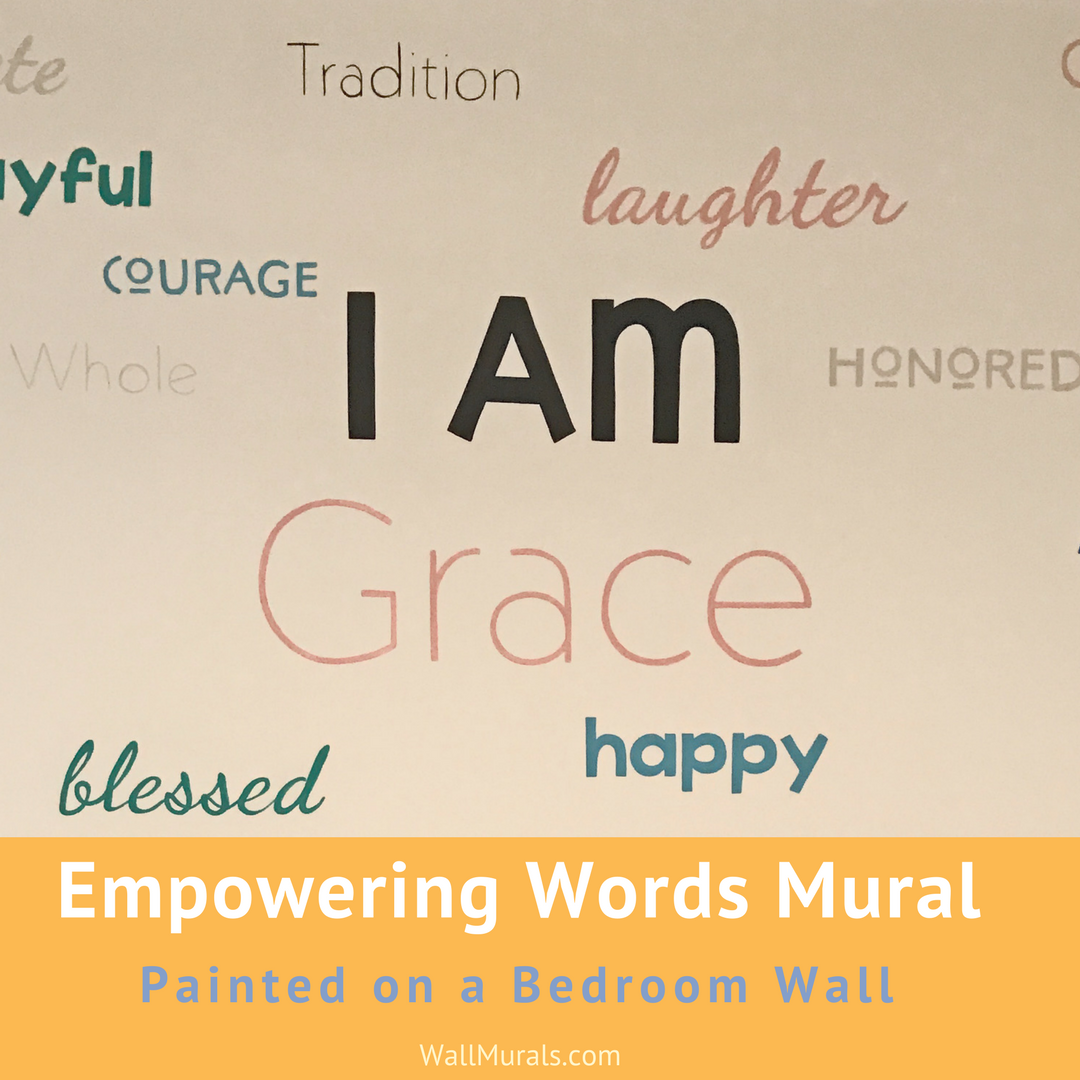 Empowering Words Painted On Wall In Bedroom Wall Murals