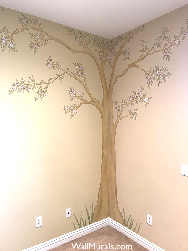 Tree with Flowers Painted on Wall