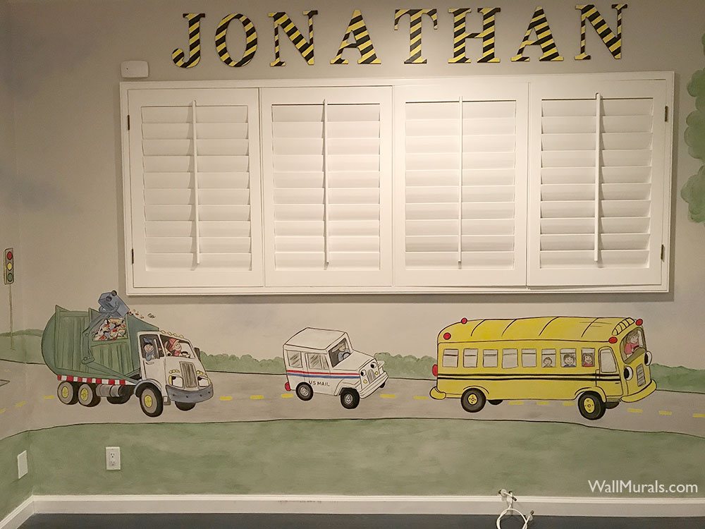 Mural of Bus - Mail Truck - Trash Truck