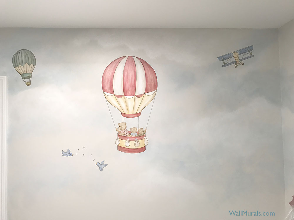 Hot Air Balloon Mural with Teddy Bears