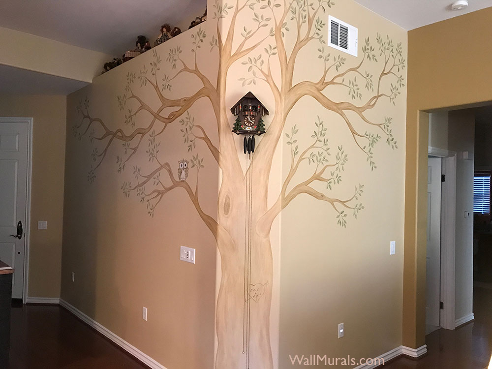 Painted Tree Mural on Wall
